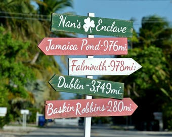 Directional Wood Shamrock Sign. Wedding Destination Signpost. Wedding gift idea. Personalized Mileage sign.