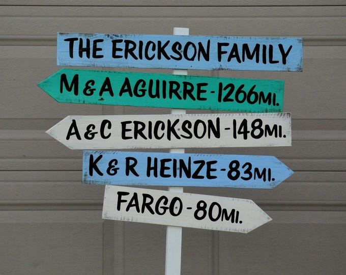 Arrow Family Directional Destination Sign, Rustic Mileage Garden Decorative Sign Post, Yard wood sign, Christmas gift idea.