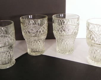 Federal Depression Glass Mayfair Clear Tumbler (s) SET OF 4