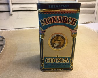 Collectible Monarch Cocoa Tin very good vintage condition Collectible/Decor FREE USA Shipping