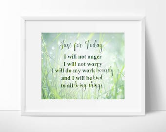Instant Digital Download - Just for Today Quote - Reiki Principles - Reiki Prayer - Reiki Wall Art - Green and White