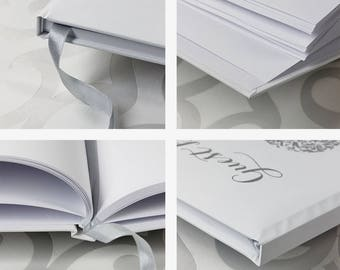 Silver Foil Lace Heart  Hard Cover Guest Book - A4 - Bespoke Hand Made Album and Book in White with Ribbon- Your Names
