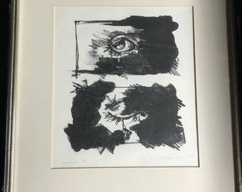 Charcoal signed Lithograph Untitled 1972 limited edition 8 x 10 Framed Jean ?