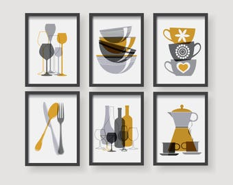 Modern Mustard Yellow Kitchen Wall Art, Yellow Kitchen Decor, Kitchen Decor  Set,kitchen