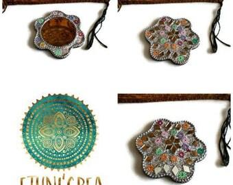 Small purse mirror, boho Indian handmade mosaic mirrors, sequins MF 02