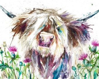 A4 collectable Giclee cow art print , Highland Cow  watercolour art print by nicola jane rowles (like voyage Maison)