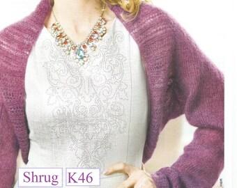 Instant Download - PDF- Pretty Shrug Knitting Pattern (K46)