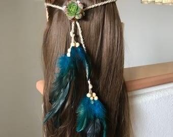Blue feather headband, succulent hair clip, feather headband, edm, boho headband, boho hair clip, gypsy crown