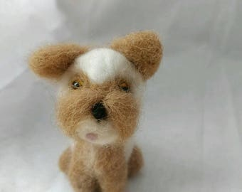 Needle Felted, Brown Spotted Dog