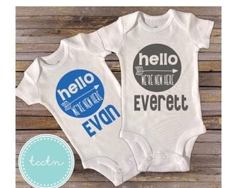 ON SALE Twin Boys Hello We're New Here One Piece Bodysuits Set | Twins Newborn Baby Outfit | Twin Boys Going Home Outfit