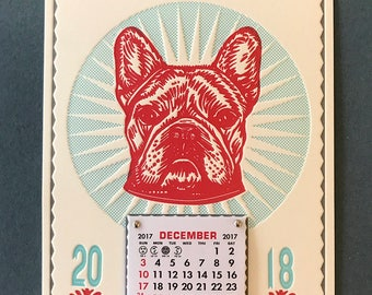French Bulldog Art Wall Calendar for 2018 Handmade Letterpress; A gift for the Frenchie lover! Small size, perfect for mailing!
