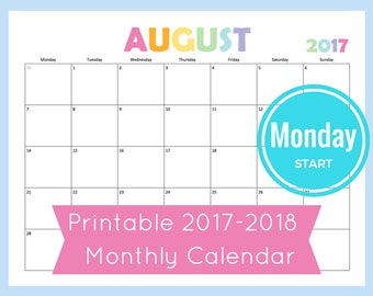Monthly Calendar Printable 2017 Monthly Calendar Discbound