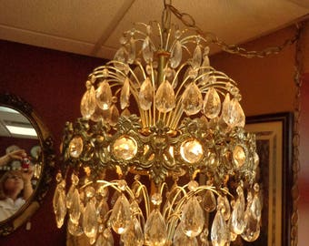 Crystal Prisms Swag Chandelier, Ornate Brass Filigree and Crystals French Style Hanging Chandelier with Swag Chain 14 foot with Switch