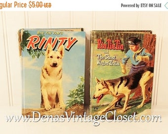 On Sale 25% OFF Vintage50's Rin Tin Tin Books By Cole Fannin and Julie Campbell Lot of 2 Children's Books