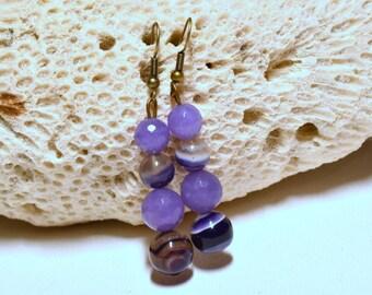 Purple jade agate earrings stained