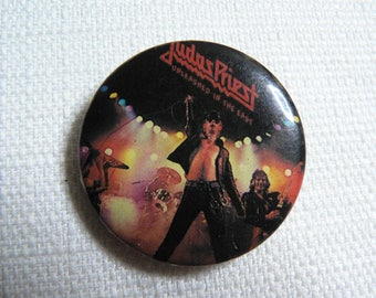 Vintage 80s Judas Priest / Rob Halford Unleashed in the East Album (1979) Pin / Button / Badge