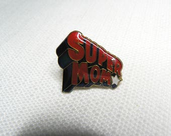 Deadstock - Never Worn - Vintage 80s - Super Mom - Comic Book Font - Cute / Kawaii Enamel Pin / Button / Pinback