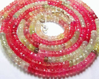 Natural Sapphire 1 Stand  17 inch Finest Quality, Natural Multi Pink Sapphire Faceted Rondelle Beads Necklace 4 TO 5 MM