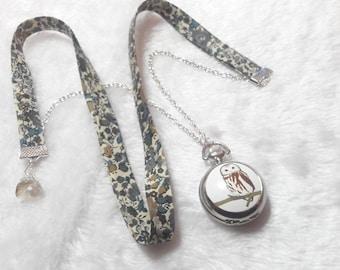 Liberty ochre & Grey Owl Pocket Watch necklace