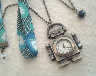 Liberty watch necklace with blue & green Robot pocket watch