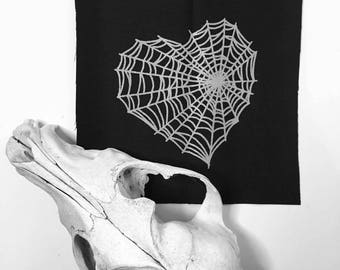 Heart Spider Web Patch SMALL