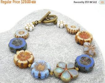 On Sale Floral Bracelet, Flower Bracelet, Blue Bracelet, Cream Bracelet, Daisy Bracelet, Boho Bracelet, Bohemian Bracelet, Czech Glass Brace