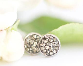 FREE SHIPPING // Raw Pyrite Earrings // Pyrite Earrings // Pyrite Jewelry // Pyrite Crystal // Stud Earrings // Earrings For Bridesmaids