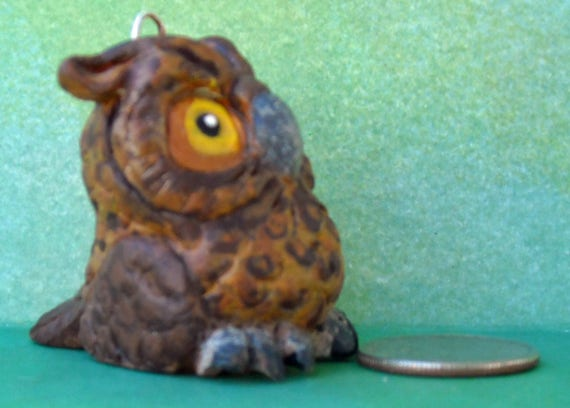Sally Blanchard's Tongue-in-Beak Clayworks Horned Owl Parrot Christmas Tree Ornament One of a Kind Hand-crafted