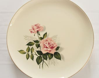 Versatile TST 4 dinner plates Taylor Smith Taylor ovenproof made in USA 2 pink roses w/leafy stems shades of green & silvery gray ferns