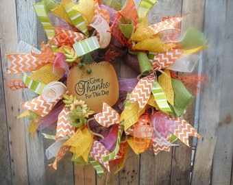 Fall Thanksgiving pumpkin deco mesh and burlap wreath with metal sign and ribbons