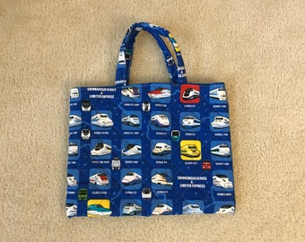 Cute Toddler Blue Train Shinkansen Bag for Little Kids