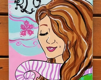 Mod Monogram -- Custom Monogram Portrait -- Hand Painted