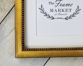 Mina Bead Rustic Gold Wood Picture Frame With White Mat 8x10 9x12 11x14