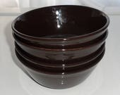 DISCOUNTED 4 Brown Ironstone Soup Bowls, C and E Staffs of England,Vintage 1950s Soup Bowls, Excellent Vintage Condition, Set of 4 Dark Brow