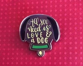 Pluto Enamel pin, Love & a DOG, Dog