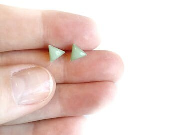 itty bitty mint/silver triangle post earrings • triangle earrings, small post earrings, dainty earrings