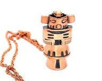 Big Vtg Southwestern Native American Signed Modernist Bell Trading Post Copper KACHINA Pendant Necklace