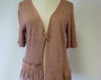 Sale. Artsy powder pink linen cardigan, XXL size.