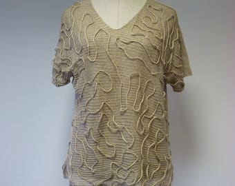 Artsy taupe transparent blouse, L size. Made of pure linen.