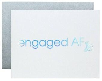 Engaged AF Letterpress Engagement Card