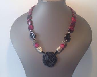 Black jade necklace and pink Jasper
