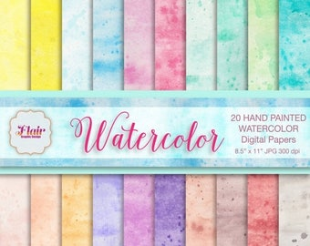 80% OFF WATERCOLOR Digital Paper, Hand Painted Watercolor Paper, Rainbow Colors, Scrapbooking, Card Making, Web Design, Blogs, Background