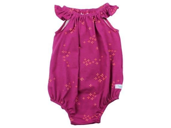 Baby Romper with Snaps Coral Plum Baby Romper Summer Floral Romper Modern Romper Flutter Sleeve Romper Knit Romper Little Stars Burgundy
