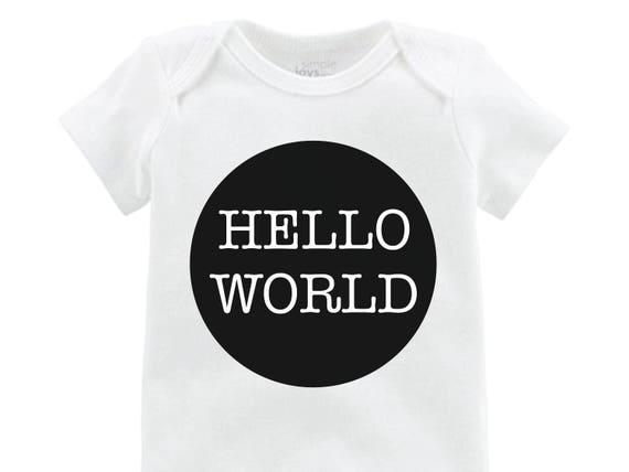 Boy Hello World Onesie Black Hello World Bodysuit Boy Coming Home Onesie Newborn Coming Home Bodysuit Hello World Boy Shirt Boy Newborn