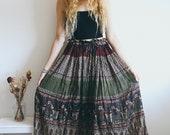 Vintage Indian Cotton 70s Skirt, Floral Pattern, Hippie, Bohemian, Maxi Skirt