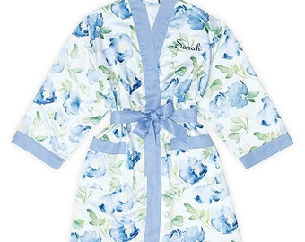 Personalized Floral Kimono Robe - Size S/M - Watercolor Kimono with Blue Trim - Personalized - Floral - Bridal Party Gift - Bridesmaid Gift