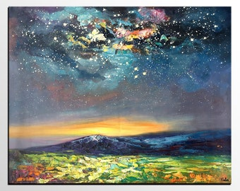 Canvas Oil Painting, Starry Night Sky Painting, Contemporary Art, Abstract Art, Modern Art Painting, Living Room Wall Art,  Original Artwork
