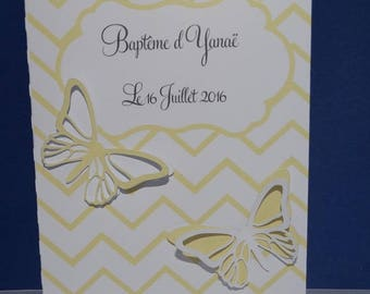 Chevron and Butterfly birth announcement