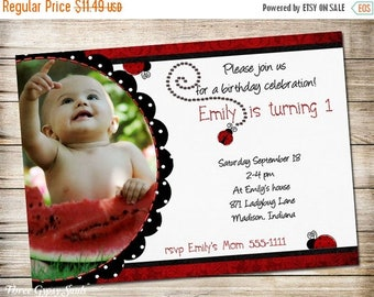 SALE Ladybug Invitations Ladybug Birthday Invitation