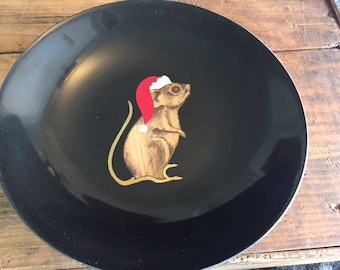 Vintage Couroc Christmas mouse tray